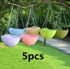 5pcs Plastic Wall Hanging Storage Basket Plant Planter Flower Pot Garden Decor