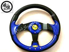 Viento Performance Azul 320mm plano de cuero PU volante Omp Momo Nardi