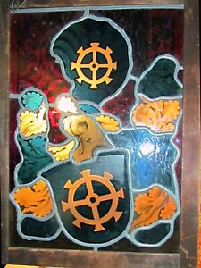 antique heraldic stained glass panel framed