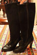 Vintage 1980s Black Leather Side Zip High Heel Riding Boots Sz 7.5 EUC