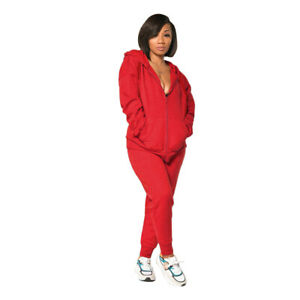 Sporty Women's Zipper Long Sleeves Solid Color Hoodie Casual Jumpsuit Outfits