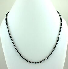 925 SOLID STERLING SILVER NATURAL BLACK ONYX GEMSTONE FACETED BEADS NECKLACE 13g