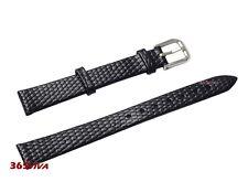 12mm Black Genuine Leather Cowhide Lizard Grain Thin Watch Strap Bracelet Band