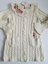 Hanna Andersson Sweater Dress Ivory Embroidered Flowers Ruffles  Size 110 NWT