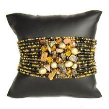 Czech Glass Bead GEM CLUSTER Bracelet Cuff Shamballa BLACK & GOLD Guatemala
