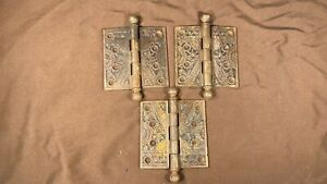 "3 Antique Ornate Eastlake 4"" x 4"" Ball Tip Hinges Branford Lock Works Conn."