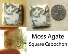 Moss Agate Cabochon Tranclucient 29x33mm Artistic Scene Square