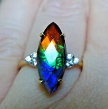 Ammolite (18.00 x 7.00)mm 10K Gold Ring, Size 7, Certificate