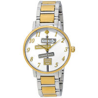 Kate Spade Two-Tone Silver & Gold Gramercy Bracelet Watch NEW NWT