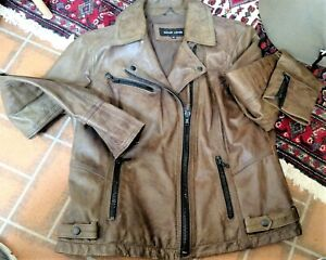 Womens XL Brown Leather Motorcycle Jacket