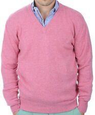 Balldiri 100% Cashmere Uomo Pullover Scollo a V 4-fädig ROSA S