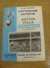 08/02/1969 Tottenham Hotspur v Aston Villa [FA Cup] (Light Foxing/Marks).  We ar