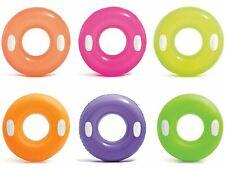 "30"" Intex Inflatable Swim Ring Neon Float & Handles Beach Pool Swim Lounger Kids"