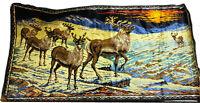 Vintage Deer Sunset Mountains Colorful Velvet Tapestry 38 X 20 Retro VTG Does