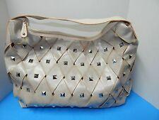 Chocolate New York Studs Hobo Tote Handbag Purse Beige  color