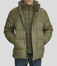 $495 Marc New York Men Green Down Hooded Puffer Fleece Bib Quilted Coat Jacket L