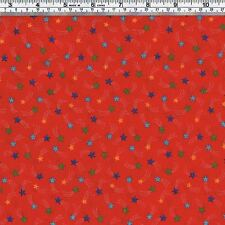Coloured Shooting STARS on Red Fabric - FQ