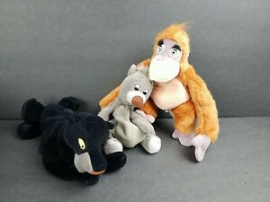 Disney Store Jungle Book Bean Bag Plush Toys Set of 3 King Louie Bagheera Baloo