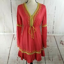 Moda International Bohemian Embroidered Dress Women Sz M Coral Long Sleeve Rayon