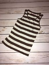 Duck Head Jeans Co. Brown and White Striped Girls Tank, M (10)