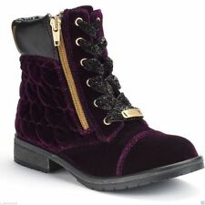Juicy Couture Girls Quilted Ivona Purple Velvet Ankle Boots S-13MED Lace Zip NWB