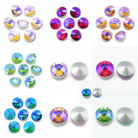 50 Pcs Faceted Cone AB Color Back Plated Pointed Back Glass Rhinestone Cabochons
