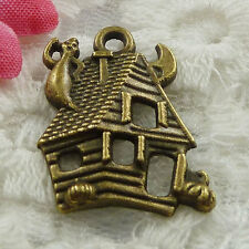 Free Ship 38 pieces bronze plated house charms 24x20mm #768