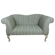 Double Ended Chaise Longue Chair in a Green / Grey Stripe Fabric