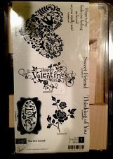 """YOU ARE LOVED"" Stampin'UP! NEW~WOOD~ unmounted-Valentine HEARTS-Scrolls-Sayings"