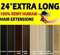 """24"""" INCH EXTRA LONG CLIP IN HUMAN HAIR EXTENSIONS Brown Blonde Black"""