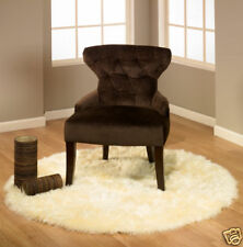 ROUND IVORY FAUX FUR SHEEPSKIN BEAR RUG 5' (Actual Size 55 Inches)