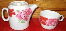 Vintage SPIRITO White PORCELAIN CZECH 2 Cup COFFEE TEA POT & CUP Red/Pink Roses