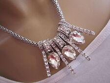 Damen Strass Collier Hals Kette kurz Modekette Kristall Silber Statement f0919
