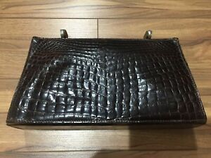 Vintage Lederer Black Alligator Leather Handbag Evening Bag Purse - Needs TLC