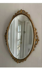 Vintage Antique Gold Oval Mirror French Rococo Baroque Style Gilt Ornate Metal