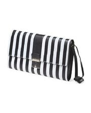 NWT $1295 Made In Italy Marc Jacobs Black and White The Skunk Clutch Lock & Key