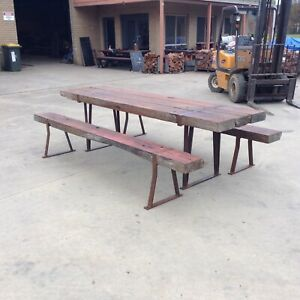 Redgum Sleeper Table Setting Recycled Outdoor Furniture