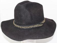 Vintage AUTHENTIC WESTERN TRAILS Black TRAIL BOSS COWBOY HAT Sz 6 7/8 100% Wool