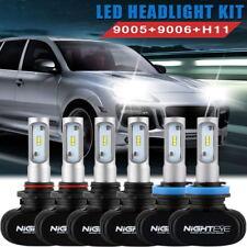 NIGHTEYE 9005 9006 H11 LED Headlight + Fog Light Bulbs Combo Kit 6500K 24000LM