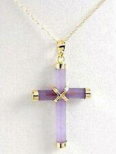 Fashion Purple Jade 18KGP Cross Talisman Luck Pendant & Necklace