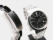 100% Authentic Men's Wristwatch  Burberry Silver Black Metal Chronograph  BU1366