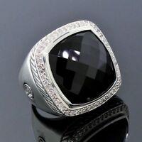 David Yurman 925 Sterling Silver 20mm Black Onyx Albion Diamond Ring Size 5.5