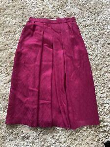 "Jaegar Vintage Pink Wool Blend Midi Skirt Size 10 28"" Waist 1970's"