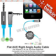 Belkin AV10128cw03-BLU Audio Right Angle Flat cable 3.5mm to 3.5mm jack socket