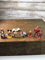 Vintage Disney Miniature Mini Vinyl Figures Figurines Lot Of 8 Pooh Mickey Dumbo