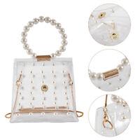 Women Transparent PVC Clear Pearl Jelly Bag Tote Ladies Handbag Messenger Bag UK