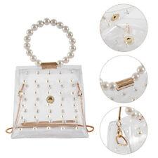 Women Transparent PVC Clear Pearl Jelly Bag Tote Ladies Handbag Messenger Bag HM