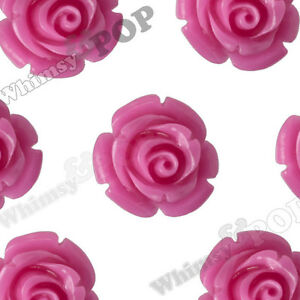 12mm Hot Pink Rose Flower Beads w Drilled Hole for Beading Stringing on Necklace