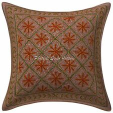 Ethnic Cotton Floral Sequins Brown 16 Inch Gold Zari Embroidered Pillow Cover
