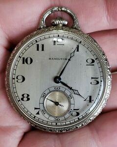 Vintage Hamilton  Model 916 Pocket Watch 17Jewels Adjusted 3 Position White GF